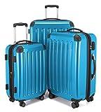 HAUPTSTADTKOFFER - Alex - 4 Doppel-Rollen 3er Trolley-Set Rollkoffer Reisekoffer, (S, M und L) Koffer-Set, 75 cm, 235 L, Cyanblau