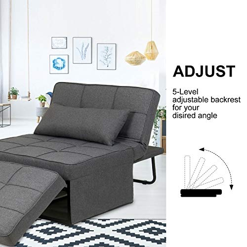 Folding Ottoman Sleeper Chair Bed Fabric Guest Sofa Couch 4 in 1 Multi-Function Adjustable Lounge Chair Sofa Bed with Pillows (Grey)