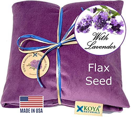 KOYA Naturals Soft Velvet Flax Seed Pillow with Lavender - Heating Pad Microwavable – Moist Heat Pack – for Neck, Muscle, Joint, Stomach Pain, Menstrual Cramps – Warm Neck Wrap (Purple, Scented)
