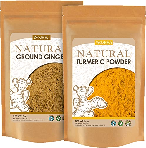 Yamees Ginger Powder - Turmeric Powder - Ground Ginger and Turmeric Combo - Bulk Spices - 2 Pack of 16 Ounce/1 Pound Each