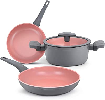 SHINEURI 4 Pieces Nonstick Pots Pans with Lids and Handles Hard-Anodized Aluminum Cookware Set with Induction Base - 2.3 Quart Stockpot with Lid, 9.5 & 11 inch Fry Pan, Dishwasher Safe Oven Safe