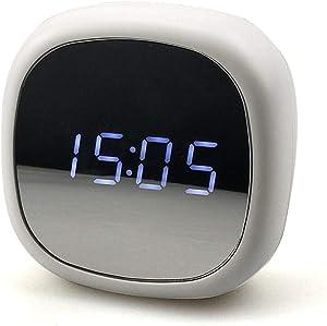 AMTBBK Réveil, Horloge Del À Miroir, Réveil À Commande Vocale, Charge De La Batterie par Double Usage,Blanc