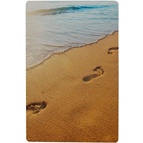 YSWPNA Footprints On Sand Beach Safety Shower Mat with Strong Suction Cups 28x16 Inch(73cmx42cm) Bath Mat Best Bath Floor Mat Men Shower Mat