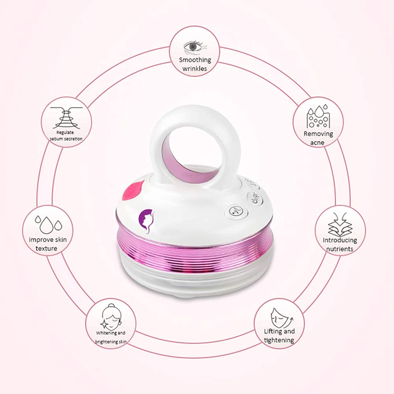 ヘルパーミルクラックRFラジオ周波数フェイシャルマシン、EMSマッサージャー、ハンドヘルドフェイシャルイオン導入美容機器、家庭用美容機器振動機器,Purple