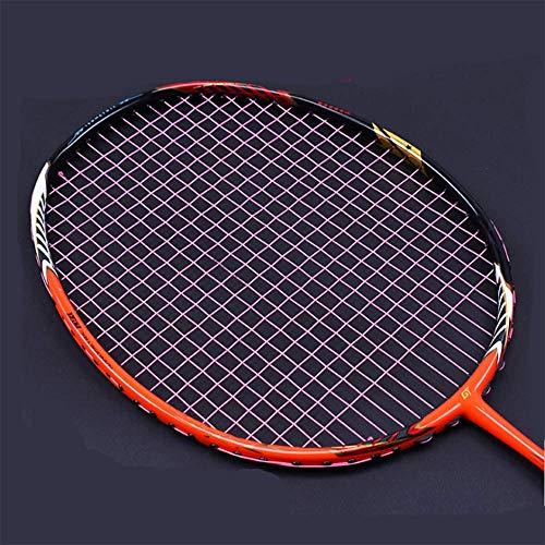 QIAO Badminton-Schläger, Full-Carbon-Badminton-Schläger echt, Ghost Chop Rahmen, Offensive Profi-Schläger,Pink