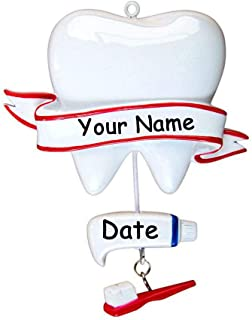 Personalized Large Tooth with Brush and Toothpaste for Dental Hygienist Dentist Dental Assistant Hanging Christmas Tree Ornament with Custom Name and Date