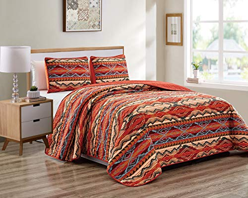 Rustic Western Native American Quilt Bedspread Coverlet Bedding Set in Modern Southwest Tribal Patterns in Soft Beige Brown Turquoise Blue Copper Burnt Orange & Rust Colors - Arizona (Full / Queen)