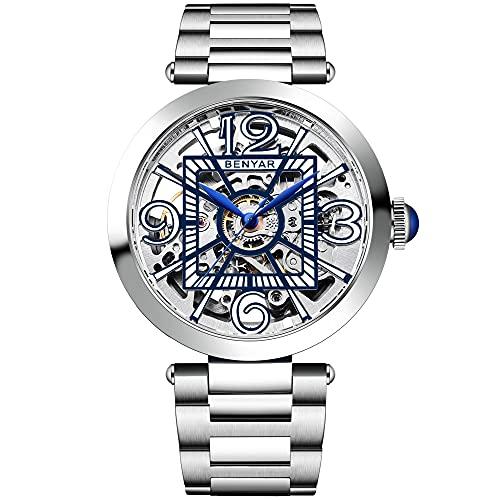 BENYAR - Relojes mecánicos automáticos para hombre, a la moda, impermeables, esqueleto, correa de acero inoxidable, Azul / Patchwork,