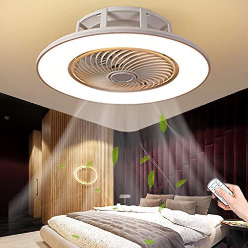 Ventilador De Techo LED Iluminación Control Remoto Regulable Ventilador Silencioso Moderno Lámpara De Techo Dormitorio Sala De Estar Habitación De Los Niños Comedor Oficina Fan Luz De Techo (White)