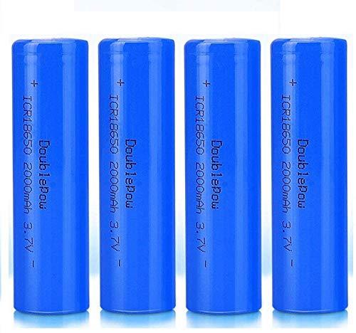 Lukytot 4 Pcs Batería 18650 Recargable Litio Lones Pilas 3.7V 2000mah Capacidad Baterías de Litio Células Acumuladoras para Timbre de Puerta LED Linterna Antorcha (Puntiagudo)-Plano
