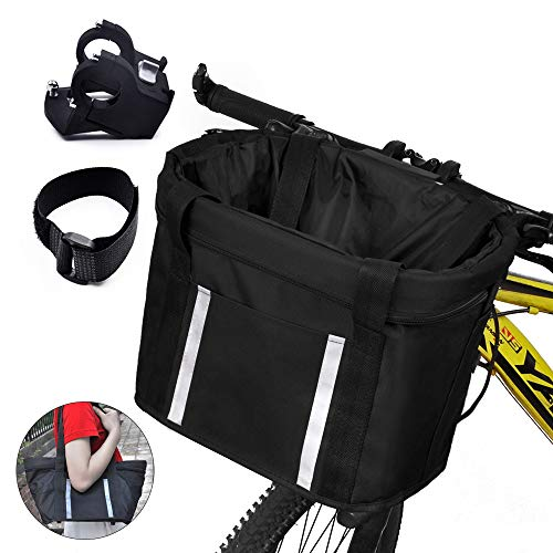 ANZOME Bike Basket, Folding Dog Carrier Front Removable With Reflective...
