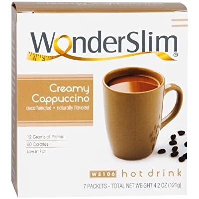 WonderSlim Diet/Weight Loss High Protein Hot Drink - Cappuccino (7 Servings/Box)