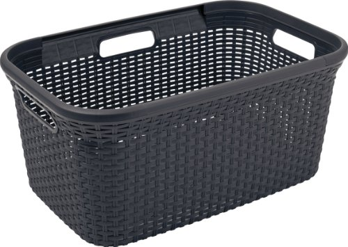 CURVER | Panier à linge 45L - Aspect rotin, Anthracite, Laundry Hampers & Baskets, 59,2x38x27 cm