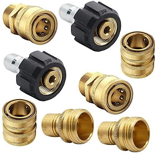 Juego de adaptadores de lavadora a presión, kit de desconexión rápida, M22 giratorio a 3/8 pulgadas de conexión rápida, 3/4 pulgadas de liberación rápida