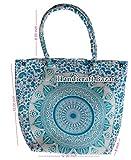 handicraft bazar r- Bolsas de compras de color turquesa con patrón floral de algodón mandala bolso bolsos de algodón diseñador bolso mandala tapiz bohemio étnico bolsa usada mujer hecha a mano bolsa