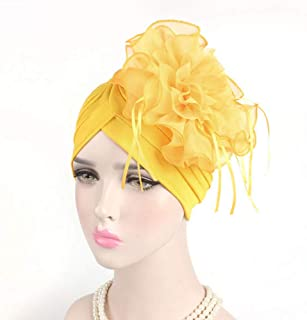 Fashian Lady Flower Lace Polyester Muslim Turban Pleated Head Wrap Scarf Bandana Hat Pre Tied Headwear Cancer Chemo Cap WJ-29 (Color : 4, Size : One Size)