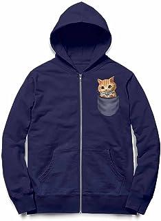Fox Republic 子猫 こねこ リボン ポケット ネイビー キッズ パーカー シッパー スウェット トレーナー 110cm