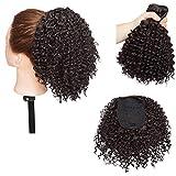 Afro Kinky Curly Clip en extensiones de cabello de cola de caballo para mujeres negras - Clip en el cierre superior Pieza de cabello de cola de caballo Marron oscuro