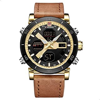 Naviforce Casual Watch For Men Analog-Digital Leather - 9132 G-G-L.BN