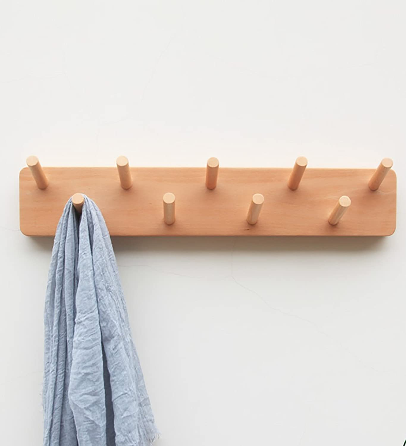 WUFENG Wall-mounted Coat Rack Solid Wood 9 Hooks Drilling Two color Optional 55x10x2.2cm ( color   European beech )