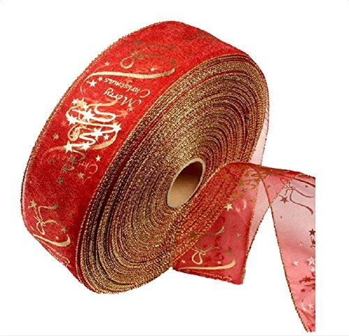 Lumanuby Rouge Décoration d'arbre de Noël rubans Dentelle Impression Fleurs ruban pour Noël Jour fête de mariage 200 x 6.3 cm