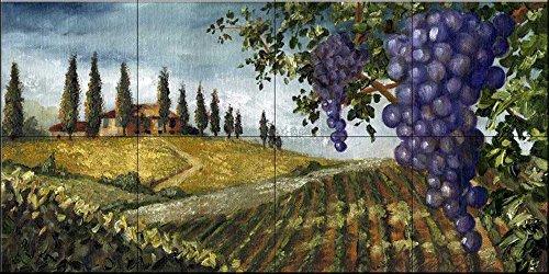 Fresque murale en carrelage - fruit de la vigne 2 - par Malenda Trick - Cuisine dosseret/bains douche
