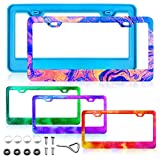 Mity rain License Plate Frame Resin Mold, Silicone Car License Plate Protective Cover Holders Epoxy Casting Mold with Screw Accessories for DIY Handmade Crafts Supplies