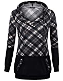 Lightweight Hoodie Sweater, VALOLIA Ladies Fall Long Sleeve Tops V Neck Checked Cozy Tunic Hoodies for Workout Soft Warm Winter Patchwork Sweatshirt Loose Fitting Plaid Shirts With Hood Dark Grey,XL