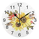 Gokruati Reloj de Pared silencioso,Reloj de Cocina,Relojes de Cuarzo silencioso Que no Hace tictac,para Sala de Estar,dormitorios,(Diámetro: 25 cm),Ramo de Otoño con Girasoles Pared Flores Tropicales