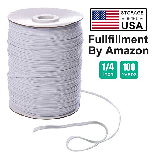 1/4''Inch 100 Yards Elastic Bands for Sewing White Elastic Cord Rope String for DIY Masks Heavy Stretch High Elasticity Knit Strap Spool for Making Masks DIY Sewing Crafts