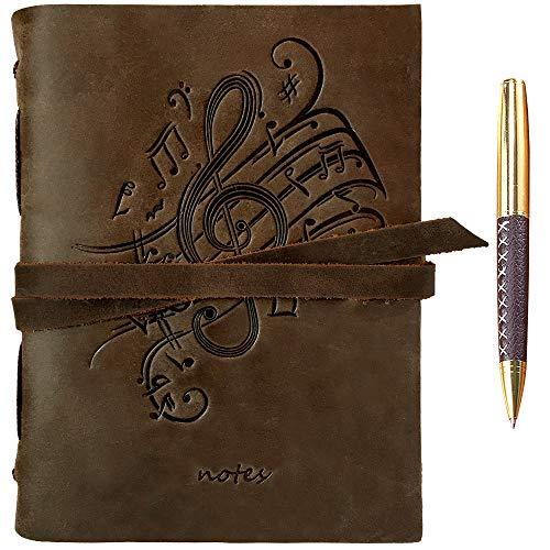 Leder Notizbuch A5 Tagebuch Journal Geprägt Musik Handgefertigte Reisetagebuch, Vintage Notebook Für Männer Frauen Antik Rustikal Echtes Leder 21X15Cm Geschenk Sketchbook Reisende Notebook