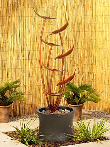 John Timberland Tiered Copper Leaves Indoor Outdoor 41' High Fountain