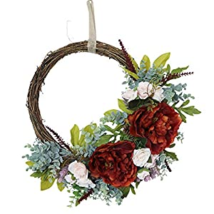 16 Inch Artificial Peony European Wreath, Silk Peony Flowers Wreath with Green Leaves, Spring Summer Wreath for Front Door Wedding Wall Home Decor, Red