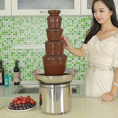 27 Inch Commercial Chocolate Fountain for Wedding, Party, Rental business. All parts made by Stainless Steel (5 Tiers)