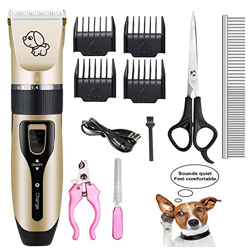 Mikayoo Pet Charging Electric Clippers,Pet Electric Shaver Cat and Dog Electric Hair Clipper,Dog Professional Beauty Trim Set Can Be Charged (Electric Clipper Set, Scissors, Comb, Nail Clipper)