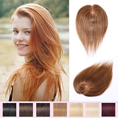 30cm Prótesis Capilares para Mujeres Extensiones de Pelo Humano Base de seda Hair Topper 100% Remy Pelo Clip-6 * 9cm, 20g, 06 Marrón Claro