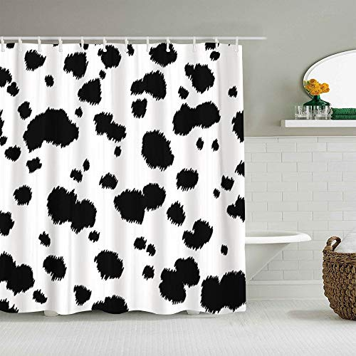 ALLMILL Shower Curtain Spot Dalmatian Animal Cow Fur Dog Skin Abstract Waterproof Bath Curtains Hooks Included - 72 x 72 inches Bathroom Decorative Ideas Polyester Fabric Accessories