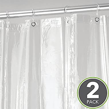 mDesign Extra Long Waterproof, Mold/Mildew Resistant, Heavy Duty Premium Quality 4.8-Guage Vinyl Shower Curtain Liner for Bathroom Shower Stall and Bathtub - 72  x 96 , Pack of 2, Clear
