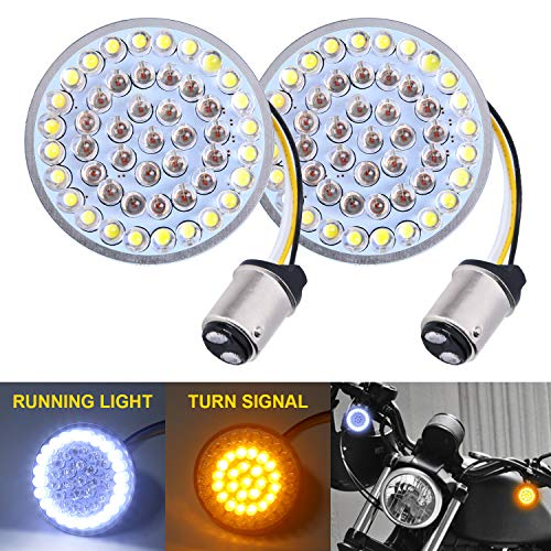 LX-LIGHT Pair 2'' Bullet Style Front LED Turn Signal Lights 1157 LED Running Light Kit for Harley Honda Yamaha Motorcycles