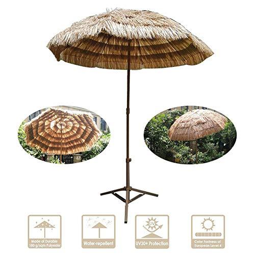 CYGG Sombrilla De Paja,sombrillas De Mesa De Jardín De 1,8 M / 5,9 Pies,Protector Solar/Transpirable,Varilla De Hierro Extraíble (Color Natural)