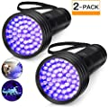 2-Pack UV Flashlight Black Light, 51 LED 395 nm Blacklight Perfect Detector for Dog and Cat Urine, Scorpion Hunting Blacklight, Dry Pet Stains, Bed Bug, Matching with Pet Odor Eliminator