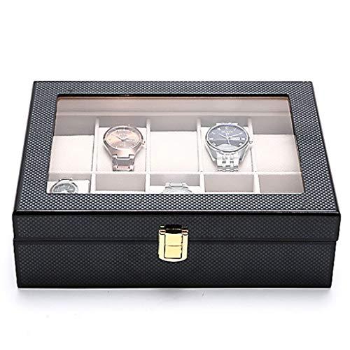 CHYOOO Reloj Caja Caja para Relojes 10 Slot, Porta Relojes Fibra de Carbono Transparente Presentación Organizador Caja Almacenamiento Reloj (Color : Black)