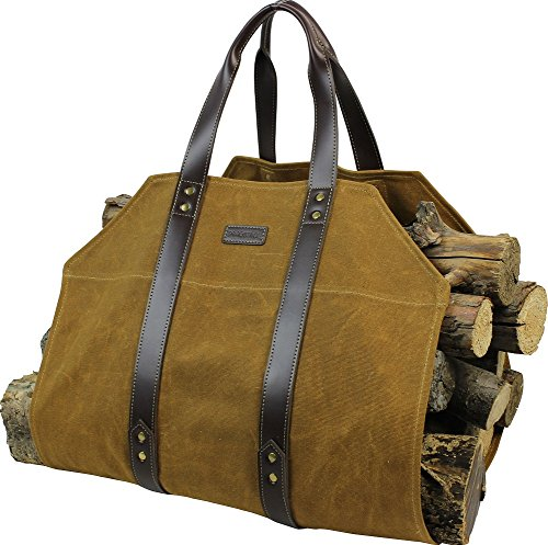 Canvas Firewood Log Carrier Bag, Waxed Durable Wood Tote of Fireplace Stove Accessories, Extra Large Hay Hauling with Handles for Outdoor Camping-Rust