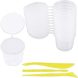 LYTIVAGEN 24-pack slime behållare 40 ml klara plastkrukor med lock och 2 uppsättningar blandningsverktyg skumboll förvarin...