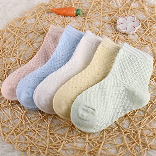 YSJJZDE Calcetines para niños 5 Pares/Lote niños Calcetines de algodón niño niña bebé Infantil Ultrafino Moda Transpirable Medalla sólida Calcetines para el Verano 1-12t Adolescentes niños
