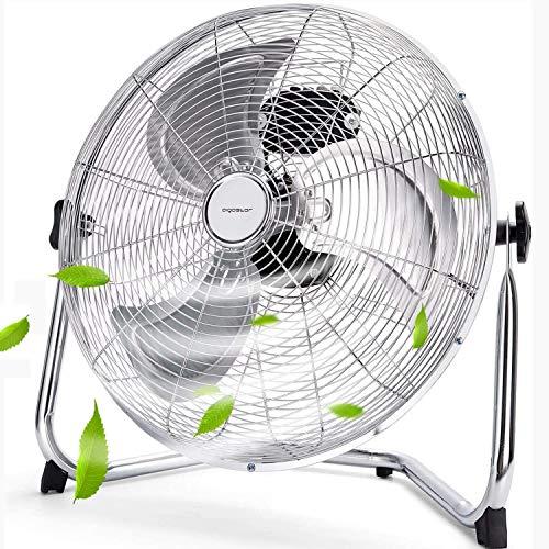 Aigostar Windmaschine 110W, 45cm Bodenventilator aus Chrom, Industrieventilator mit 3 Laufgeschwindigkeiten, Neigungswinkel 360 ° Metall Standventilator, Silber