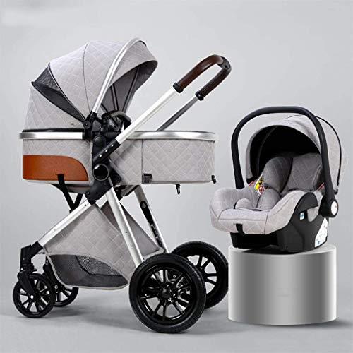 3 en 1 cochecito de sillas de silla, cochecito de bebé de absorción de descarga plegable, cochecito ligero con bolsa de mamá y cubierta de intemperie, mosquitera (color: blanco cremoso, tamaño: b) YZP