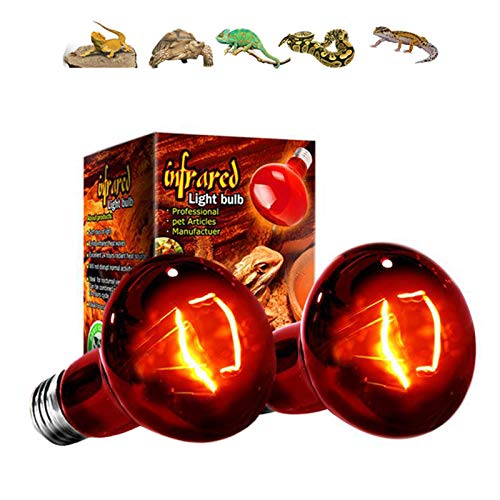 SXJC 2 Pezzi Lámpara De Calor Infrarrojo, Bombilla De Calentamiento De Reptiles E27 con Base De Aleación De Aluminio para La Tortuga Lagarto Reptil Anfibios,25W