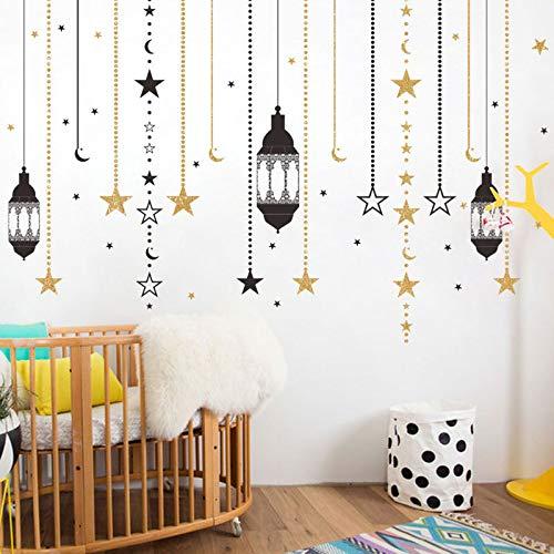 Vorhänge Sterne Kronleuchter Ramadan Festival Wandaufkleber Wohnzimmer Dekoration Malerei Wandkunst Aufkleber Home Aufkleber Tapete Wandaufkleber 24cm * 58cm