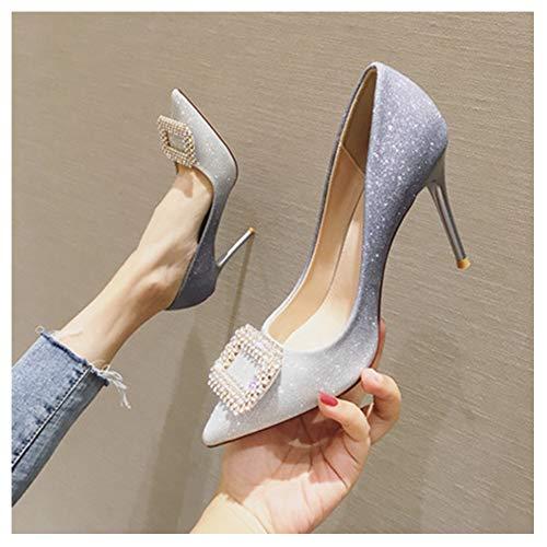 GJHYJK Zapatos Tacones Altos Hebilla Cuadrada para Mujer Punta Estrecha Zapatos Vestir Sexis para Graduación Zapatos Boda Bombas Sin Cordones,Silver9cm-34